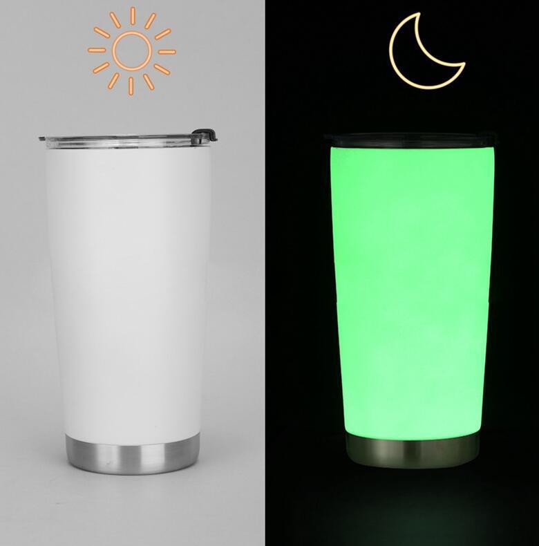DIY Sublimation Tumbler-Glühen im dunklen Tumbler 20z 304 Edelstahl-Vakuum-Tumbler mit leuchtender Paint-Tasse Meer Versand WWA236