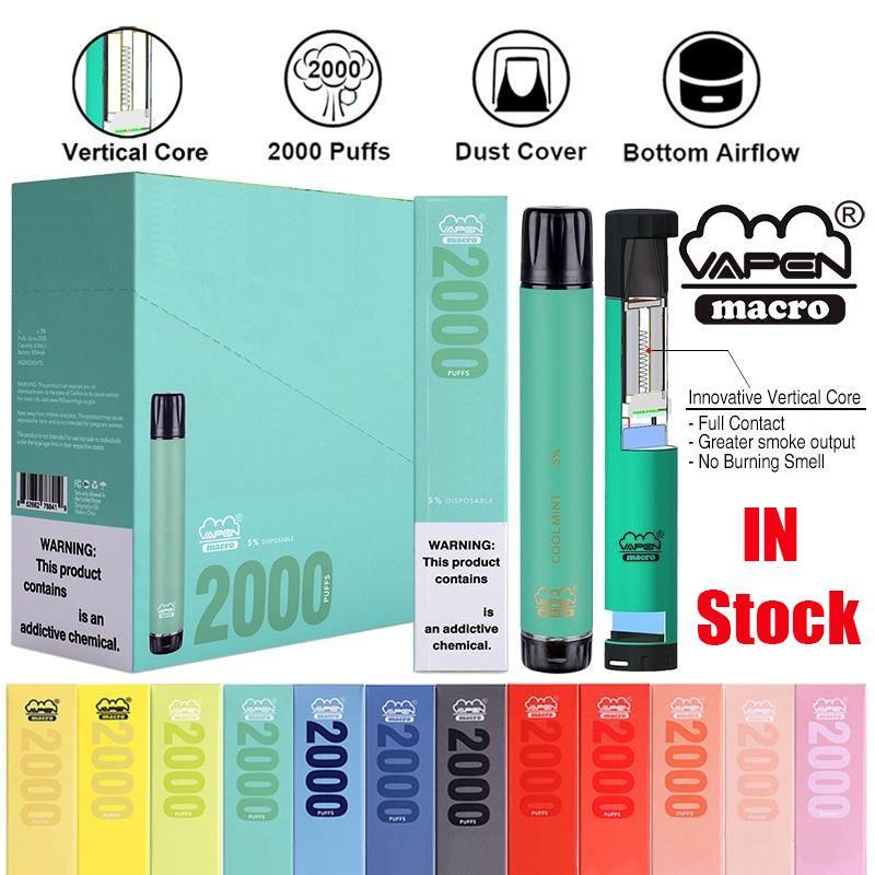 Orijinal Vapen Makro Tek Kullanımlık Pod Cihazı Kiti 2000 Puffs 6 ml Alt Hava Akımı Vape Sopa Kalem Buhar Bar Sistemi XXL Shion 100% Otantik