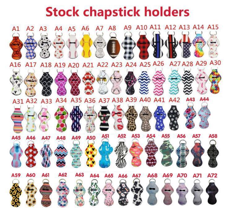 72 Patrón de diseño Impresión Chapstick Soporte Llavero Handy Balm Balm Neopreno Soporte Llavero Bolsa para Chapstick Lápiz labial Regalo Novedad