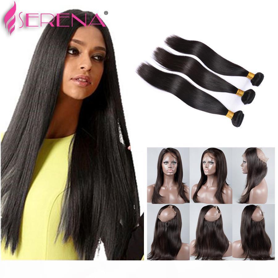 Pré-cueillies 7A Brésiliennes cheveux droites avec fermeture 360 dentelle bande frontale avec paquet 360 cheveux vierges de lace de lace avec les cheveux méchants