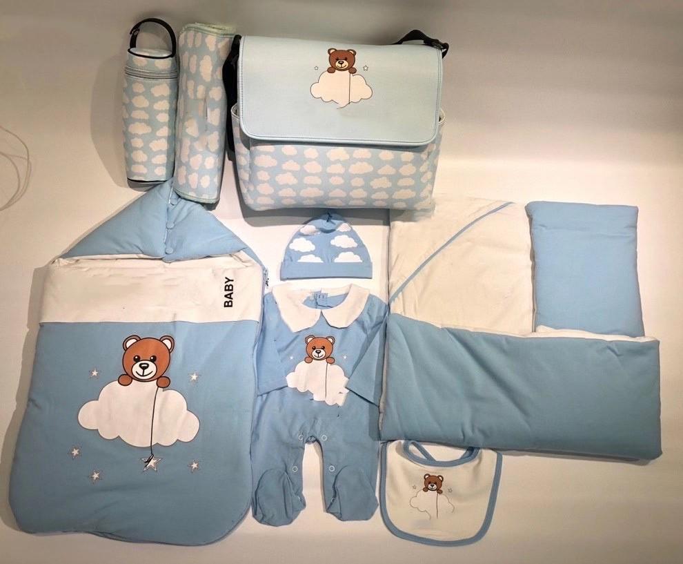 الوليد الطفل الفتيات الفتيان رومبير الملابس الربيع الكرتون الرضع طويلة الأكمام بذلة + قبعة + مريلة + بطانية + كيس النوم 5 قطعة / قطع
