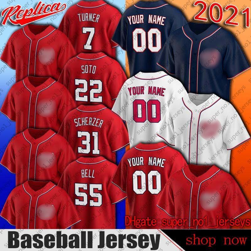 Washington 31 Max Scherzer Jersey Baseball 55 Josh Bell Jerseys Juan Soto Trave Turner Stephen Strasburg Jersey Starlin Castro Victor Robles