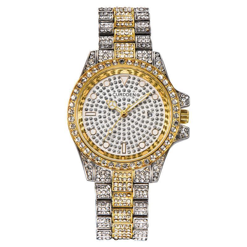 Saatı İzle Moda Hip Hop Çelik Bant Diamond Quarz Erkekler