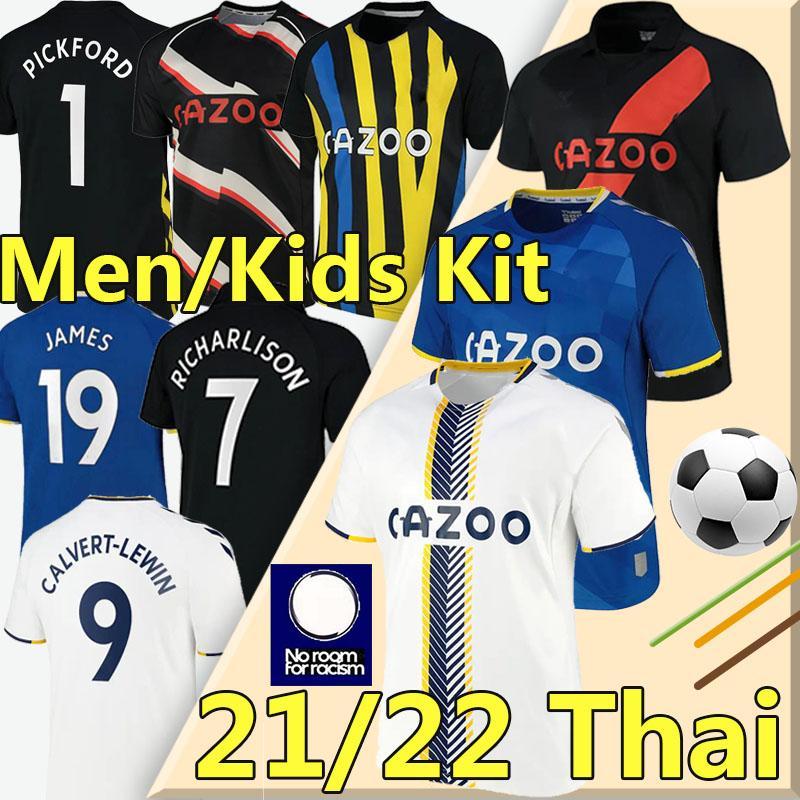 2021 2022 2022 The Toffees Soccer Jerseys # 19 James # 7 Richarlison Kean Davies Calvert-Lewin Sigurdsson كرة القدم قميص Digne Doucoure Men + Kids Kit Unifroms 21/22