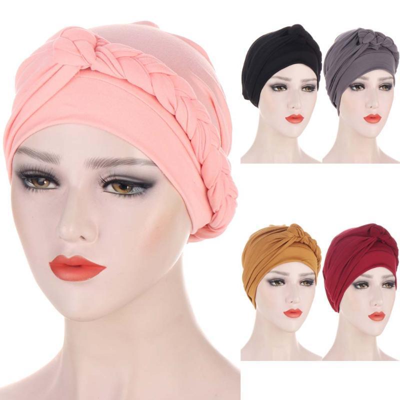 민족 의류 끈 장식 트위스트 저지 Hijabs 이슬람 여성 탄성 단색 터번 헤드 밴드 쉬운 모자 화학 모자 머리 랩 헤어 accesso