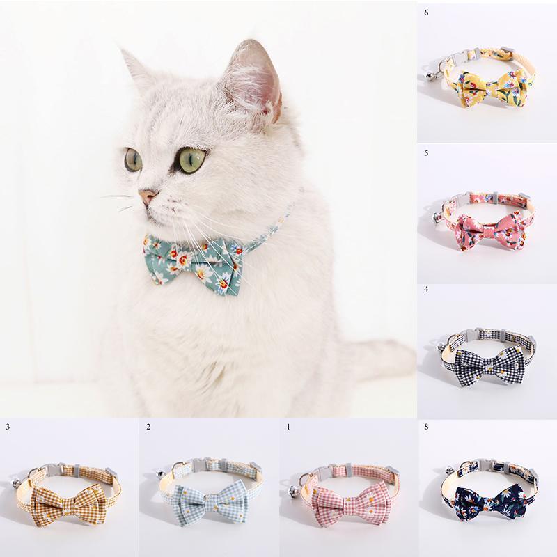 고양이 칼라는 데이지 해바라기를 리드 다이즈 해바라기 인쇄 패브릭 코튼 개 칼라 애완 동물 나비 넥타이 사랑스러운 목 끈 블루 핑크 bowknot 작은 중간에 귀여운