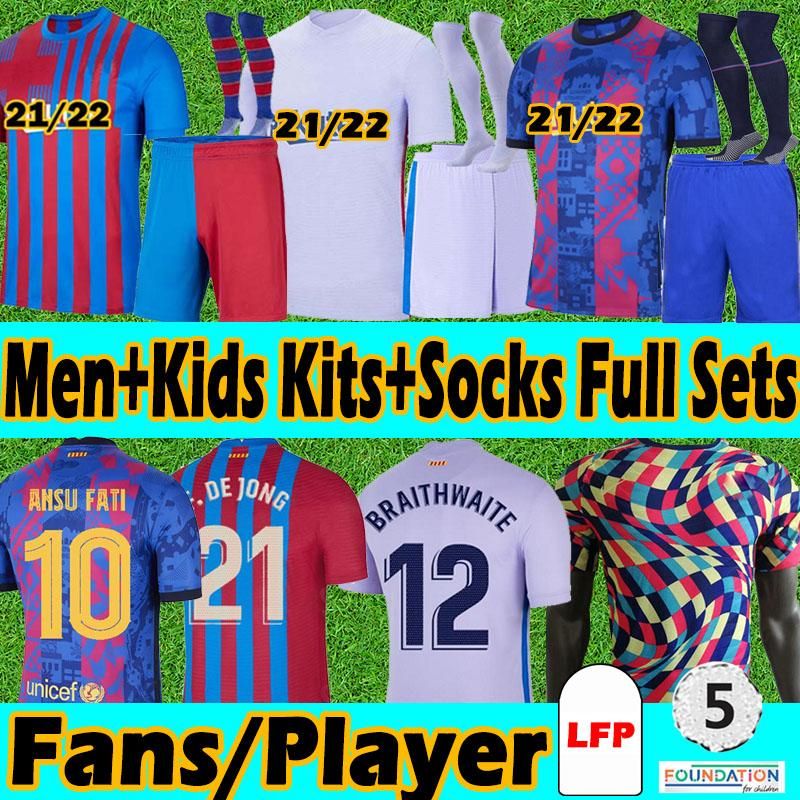 FC Barcelona Erwachsene+Kinder Kits+Socken Sets 20 21 Fans+Spielerversion Fussball Jersey 2020 2021 Messi Griezmann COUTINIHO ANSU FATI PIQUÉ Training Torhüter Fußball Trikots