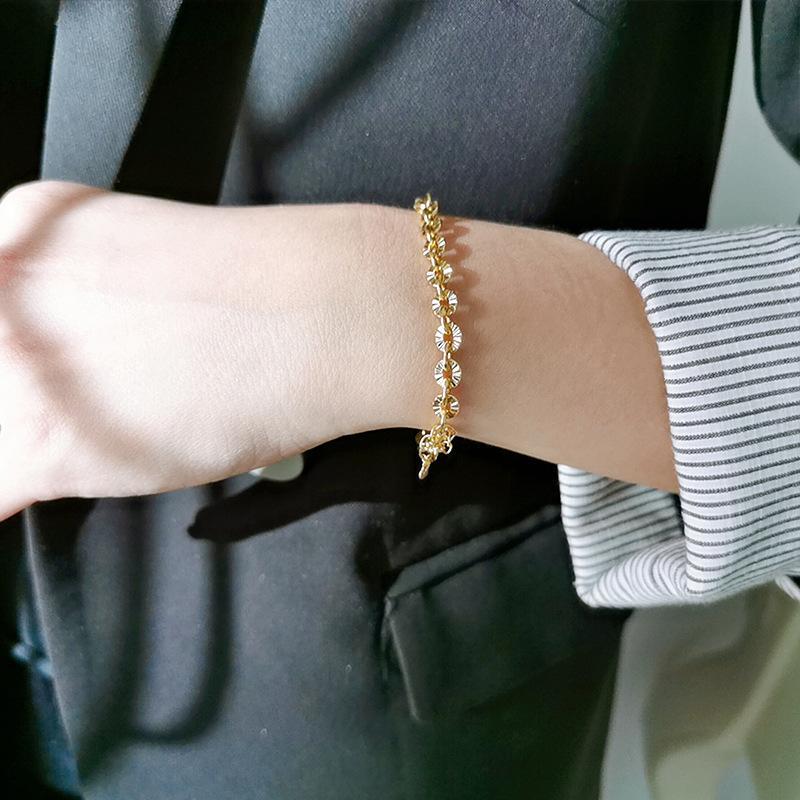 925 Sterling Silver French Simple Cross Print Chain Chaîne Bracelet Femme Classique Tempéramament 18K Gold Mariage Bijoux Cadeau