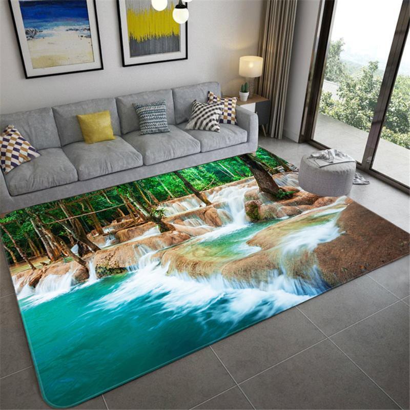Natural Scenery 3D Living Room Bedroom Carpet Forest Waterfall Landscape Mat Bedroom Bathroom Non-slip Mat Corridor Rug Tapis