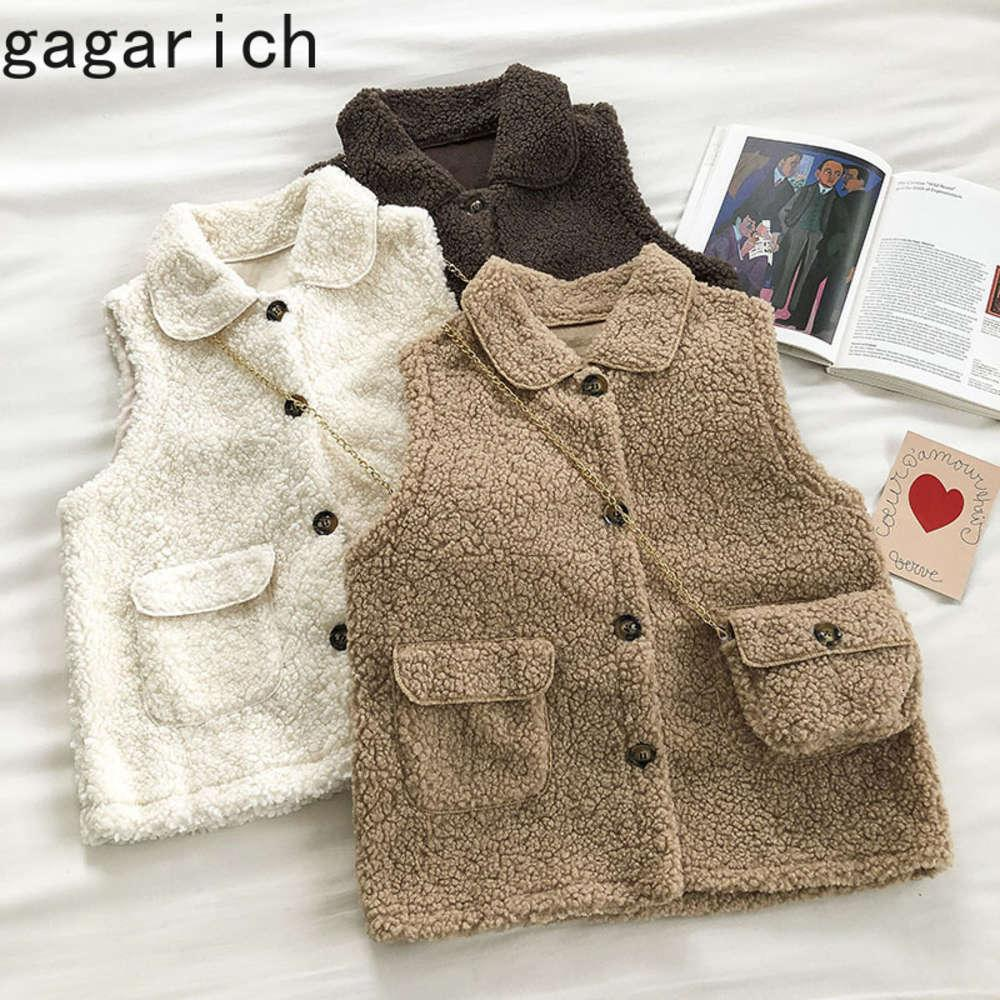 Gaggarich Women Waistcoat Thick New Autumn Winter 2020 Korean Chic Lamb Fur Vest Female Student Loose Single Breasted Tops
