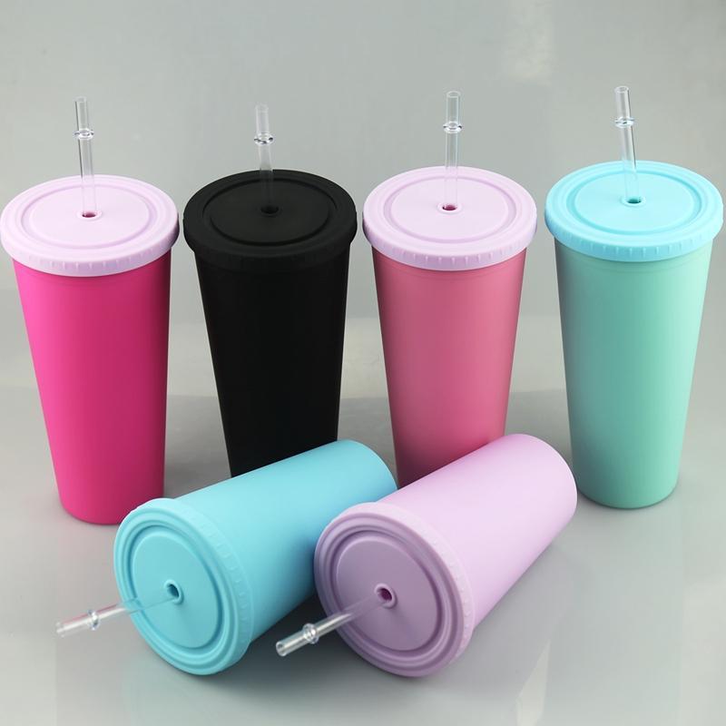 16oz akrilik sıska tumblers mat renkler plastik bardak renkli kapak ve saman ile çift duvar su şişesi BPA ücretsiz içecek içecekler bardak