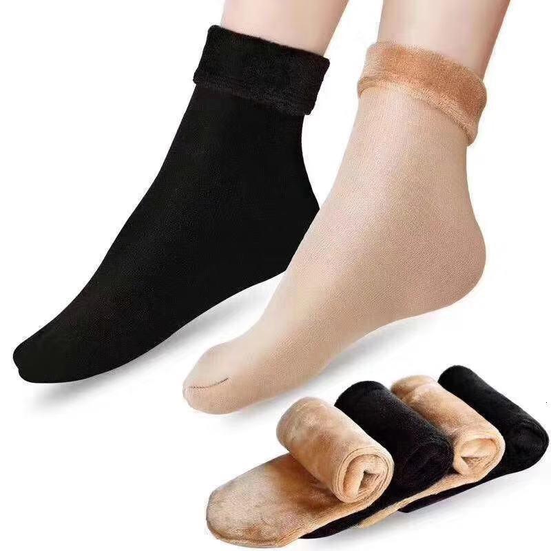 Модные зимние носки снега с плюшевым и утолщенным теплой водой