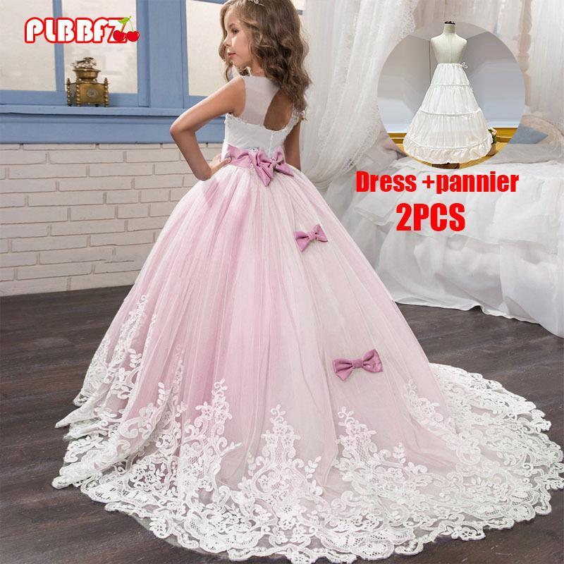 PLBBBZ Pink White First Bridemaid платье для подружки невесты Девочка Детские платья для девочек Дети Паргер Партия Свадебное платье принцессы 3-14 лет C0228