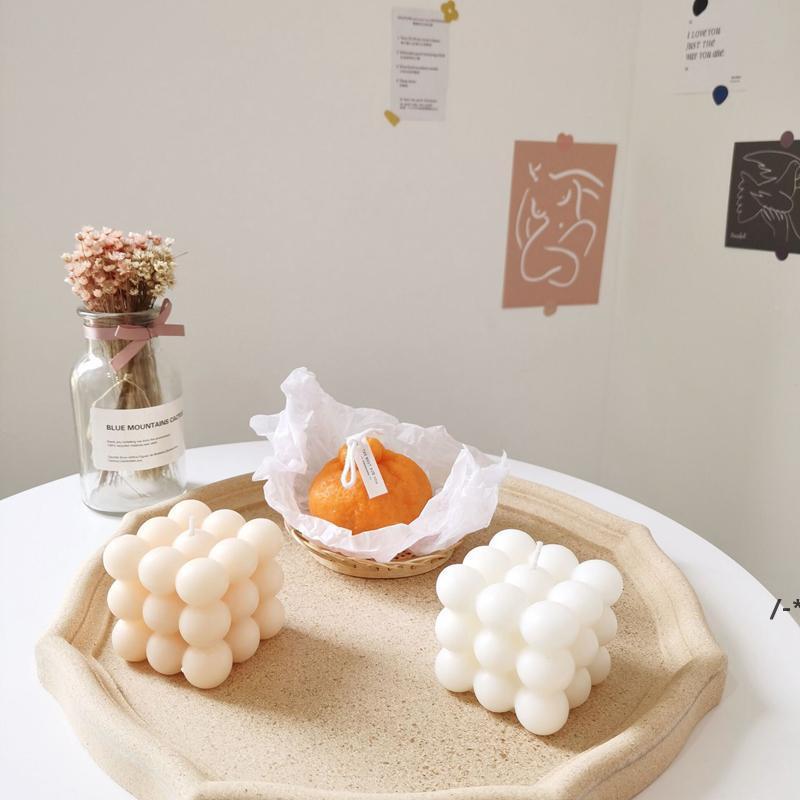 Newbubble 캔들 큐브 간장 왁스 귀여운 향기로운 촛불 아로마 테라피 작은 편안한 생일 선물 홈 장식 항아리 CCF8577