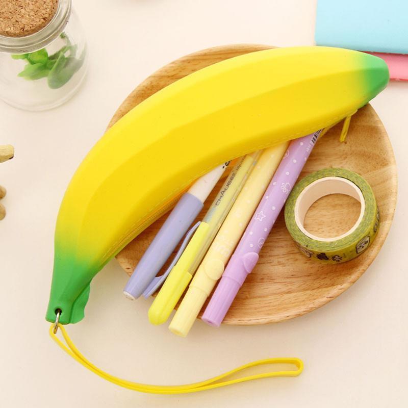 أكياس قلم رصاص الجدة سيليكون المحمولة الموز عملة حالة محفظة حقيبة محفظة الحقيبة كيرينغ اللوازم المدرسية للأطفال القلم