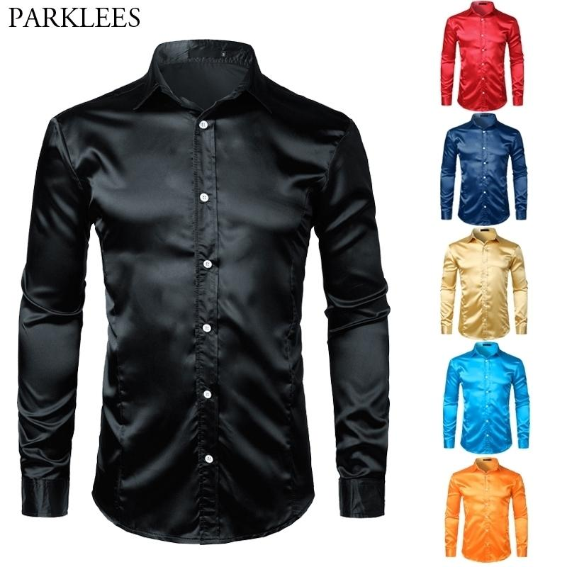 Hommes Shinny Silk comme Satin De Luxury Dress Shirts Brand New Hommes Mariage Bal Tuxedo Homme Chemise Casual Camisa Masculina Noir 210305