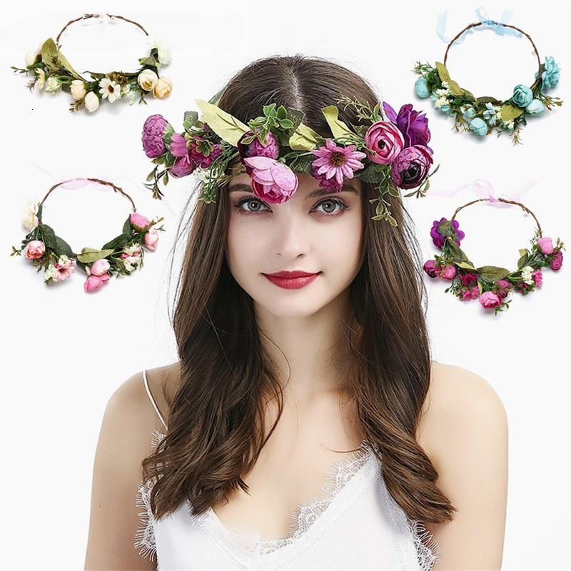 Bohemia novia flor corona banda boda floral moda diadema guirnalda princesa corona tiara niñas accesorios para el cabello
