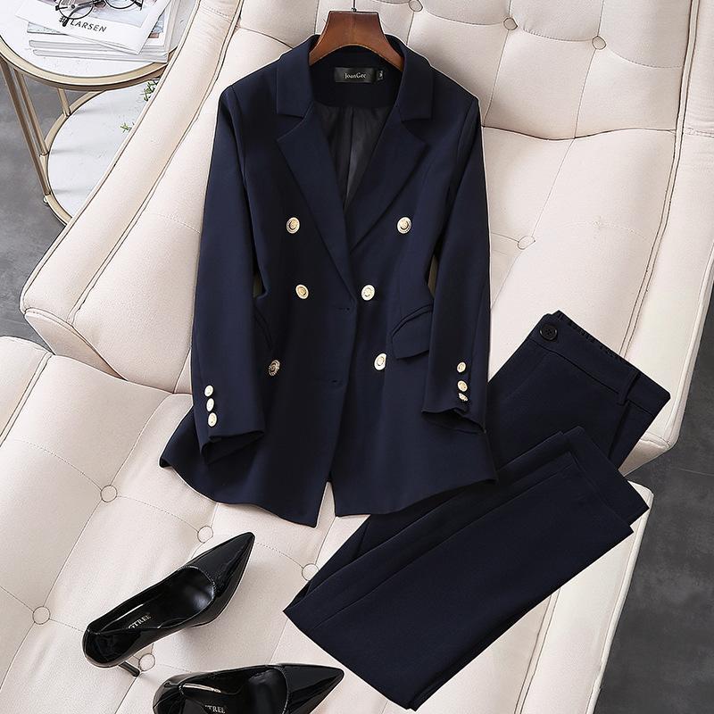 Zarif 2021 Yeni Ofis İş Giyim Pantolon Suits OL 2 Parça Setleri Çift Göğüslü Blazer Ceket Pantolon Kadınlar Için Takım Seti S-5XL IT86