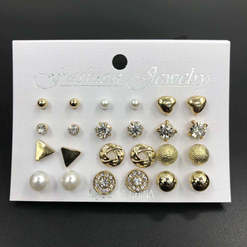12 пар комбинированного алмазного жемчуга набор сплава популярных ювелирных изделий женские серьги
