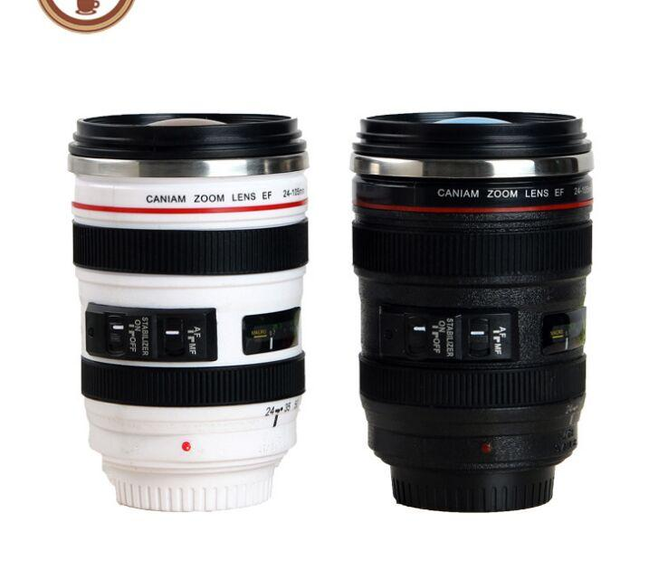 Creative 6th Generation 400ml Stainless Steel Liner Travel Thermal Coffee Camera lens Mug Cups with hood lid caniam