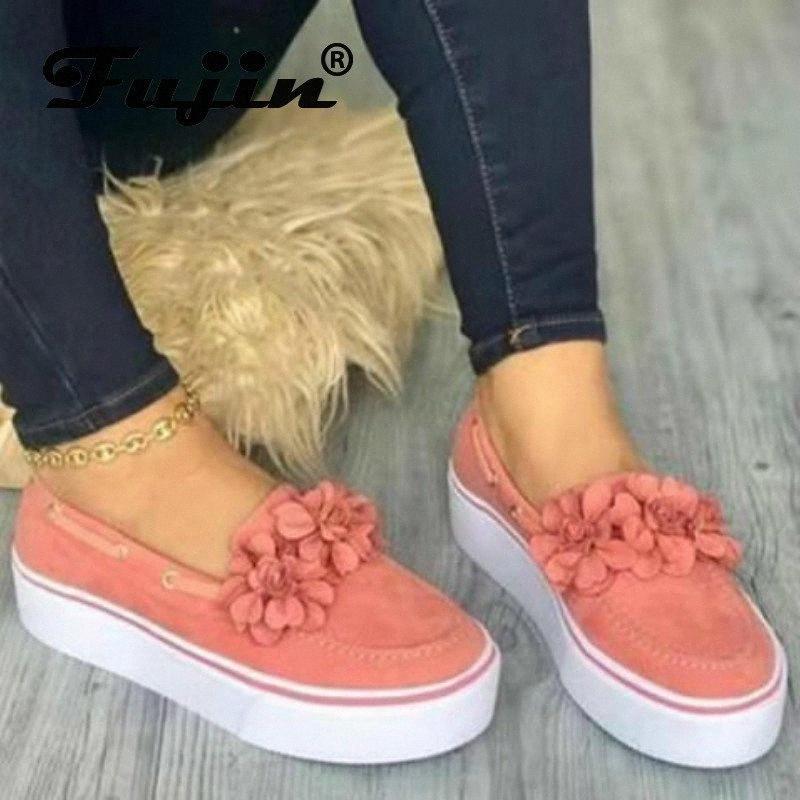 Fujin Kadınlar Düz Ayakkabı Bahar Sonbahar Büyük Boy Moda Kalın Alt Rahat Ayakkabılar Kadınlar Yuvarlak Ayak Düz Çiçek Loafer'lar 19JT #