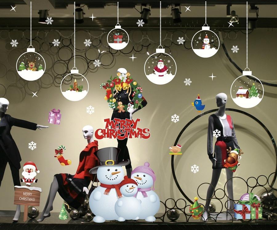 Рождественские украшения наклейки на склеищные статические наклейки окна Стикер Xmas Затвор Украшения Украшения Newyear Authospherse Магазин Украшения