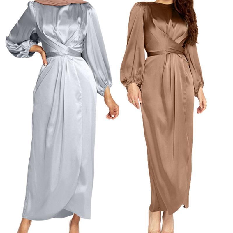 Donne arabo musulmano satinato a maniche lunghe maxi abito massello di colore solido avvolgente anteriore auto-cravatta Abaya Dubai Turchia Hijab Robe Kaftan