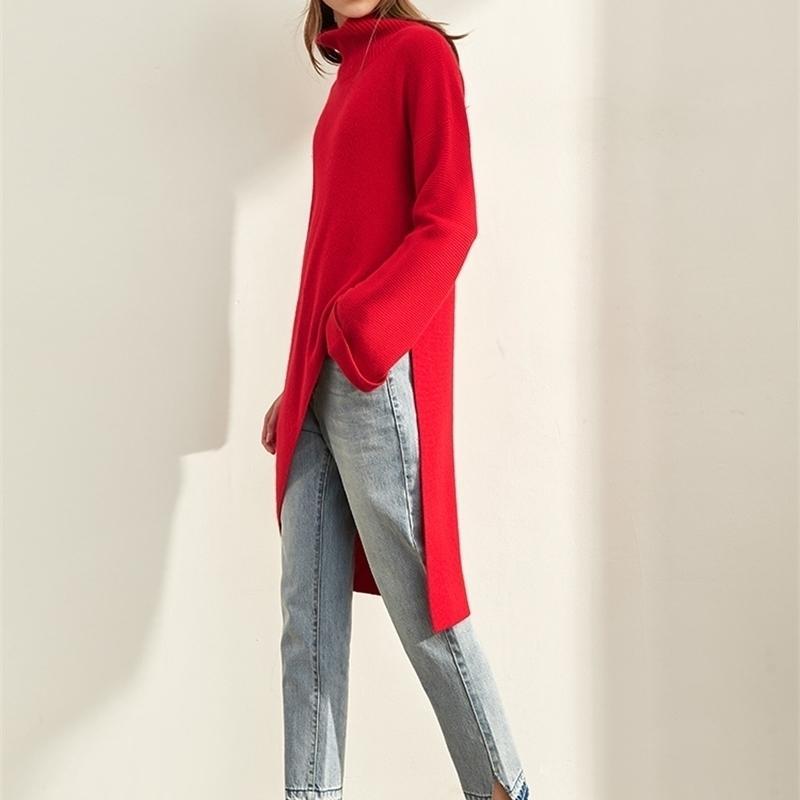Amii minimalista largo suéter invierno mujeres moda sólido suelto partido irregular elegante femenino jersey suéter 11980079 t200818
