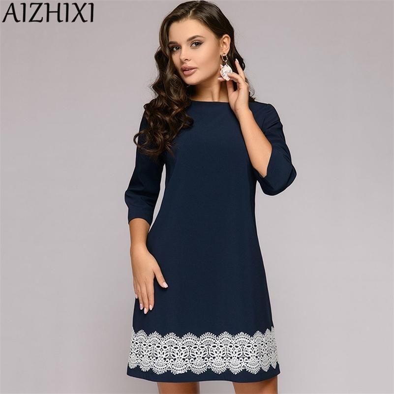 Aizhixi кружевная отделка 3/4 рукава прямое платье осенью круглые шеи повседневные мини женские платья темно-синий элегантный офис леди Workwear 210315