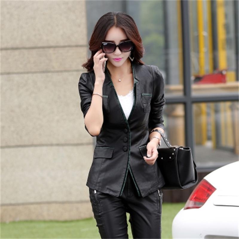 Sonbahar bahar ve yeni pu bayanlar büyük boy orta uzun Kore versiyonu ince deri j 5ylr