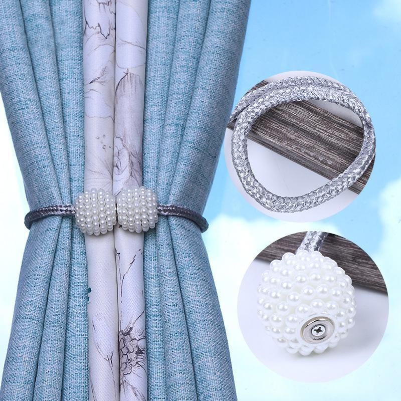 1шт жемчужный магнитный занавес завесы занавес целок пряжки зажимы висит мяч пряжка галстука задняя аксессуары домашнего декора черный