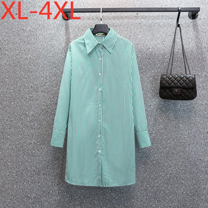 Plus Size Dresses Fit Weight 60-100KG Shirt Dress For Women 2021 Autumn Long Sleeves Striped Oversized Casual XL 2XL 3XL 4XL