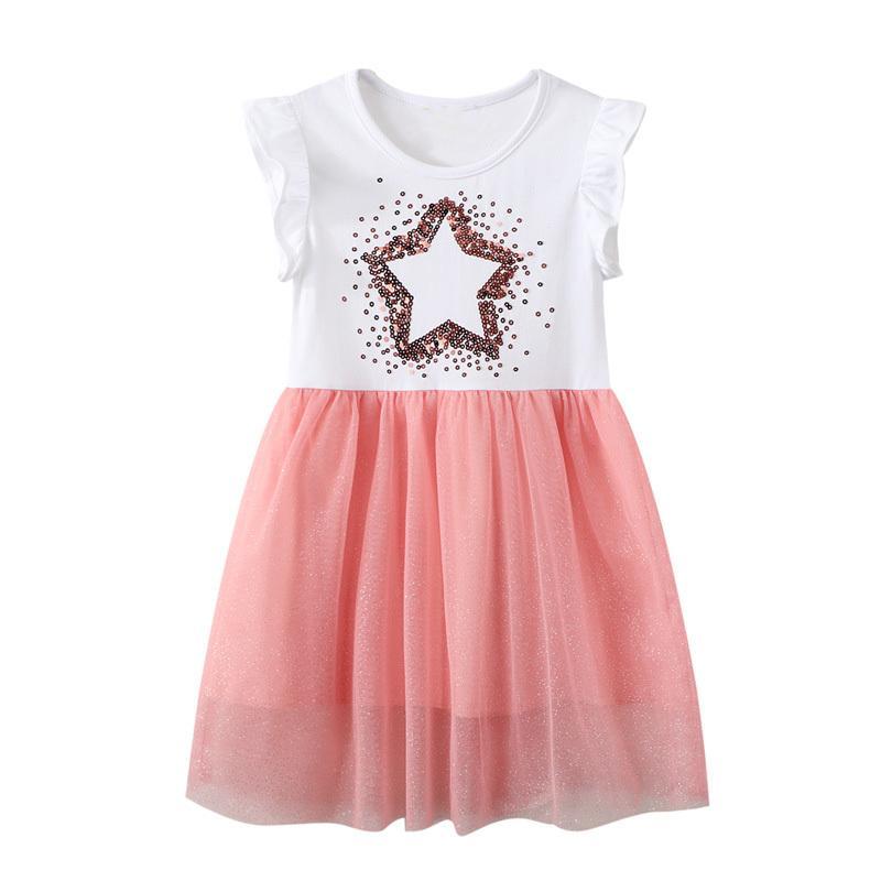 2021 Mädchen Kleid Sommer Kinder Kleidung Prinzessin Party Kleider Mesh Vestidos Baby Mädchen Sukienki Vetement Enfant Robe Fille Neue 0203