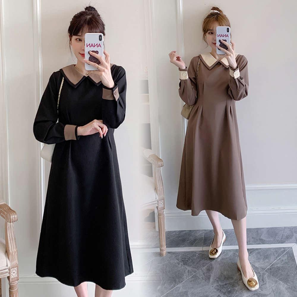 6661 # ropa de maternidad primavera otoño rechazo cuello algodón manga larga remiendo para mujeres embarazadas Mamá vestido