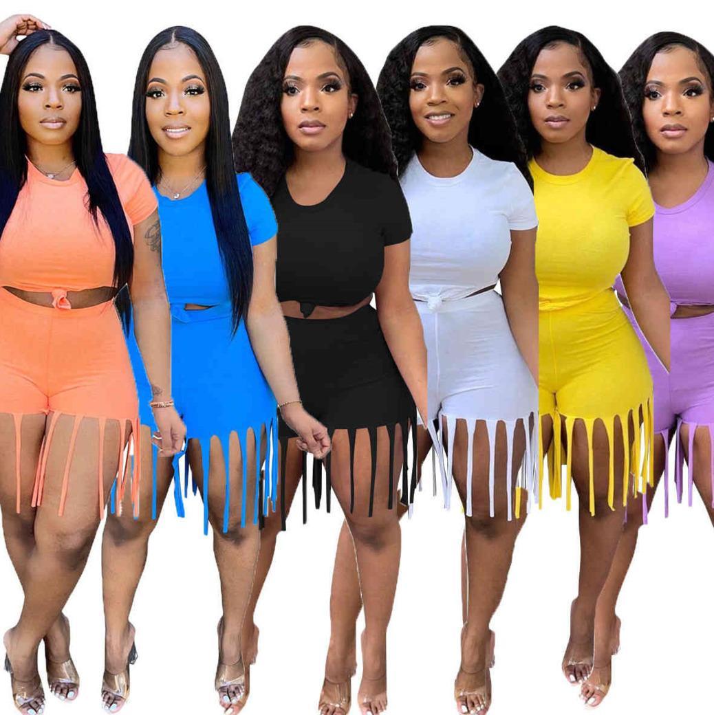 Sommer Frauen Trainingsanzüge Mode Rundhals Massive Farbe Quaste Slim Fit Kurzarm Shorts Sport Freizeit Zwei Teil Sets 9650