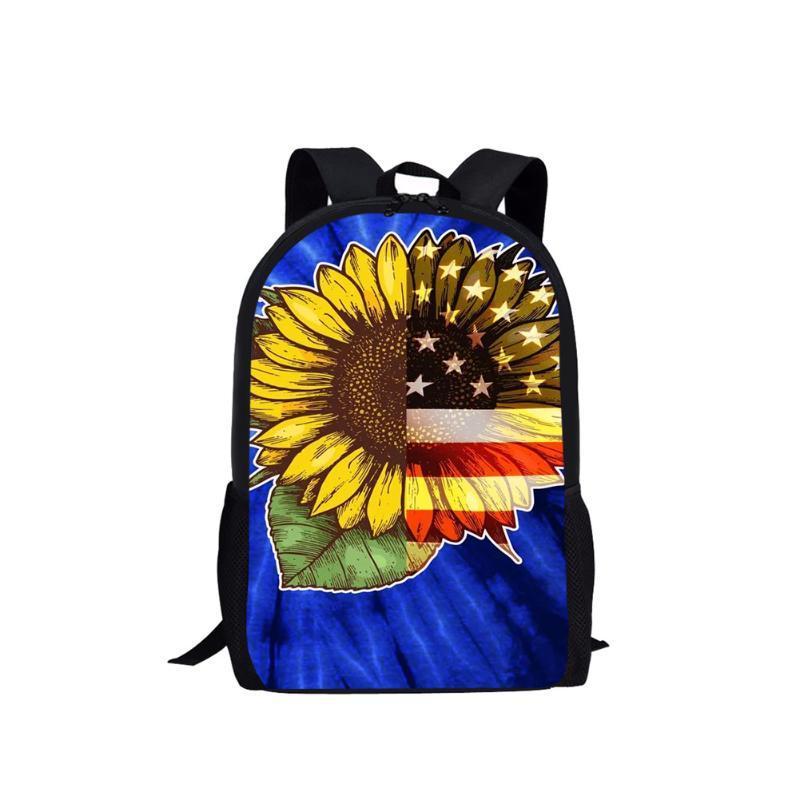 Mochila bandera americana moda mujer bolsa de la escuela girasoles de la marca Viaje para las niñas adolescentes elegante mochila chica escuela