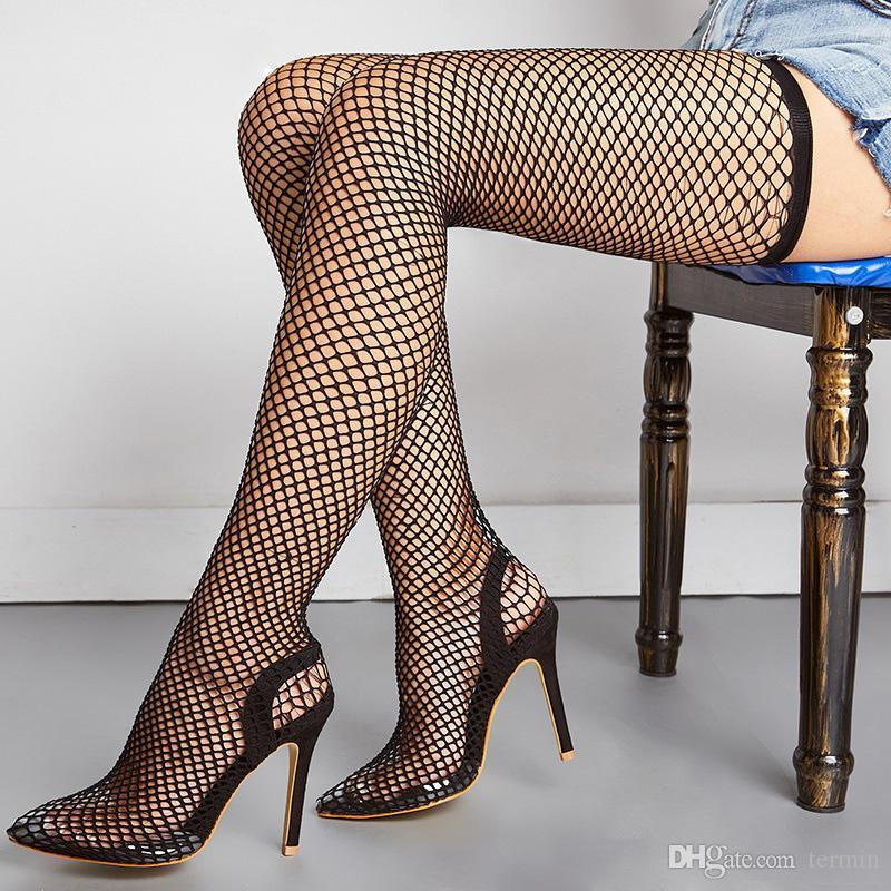 Woman Socks Boots mesh high heels mid calf boot hollow pointed toe booties ladies Sexy Over The Knee Women Boots . XZ-005