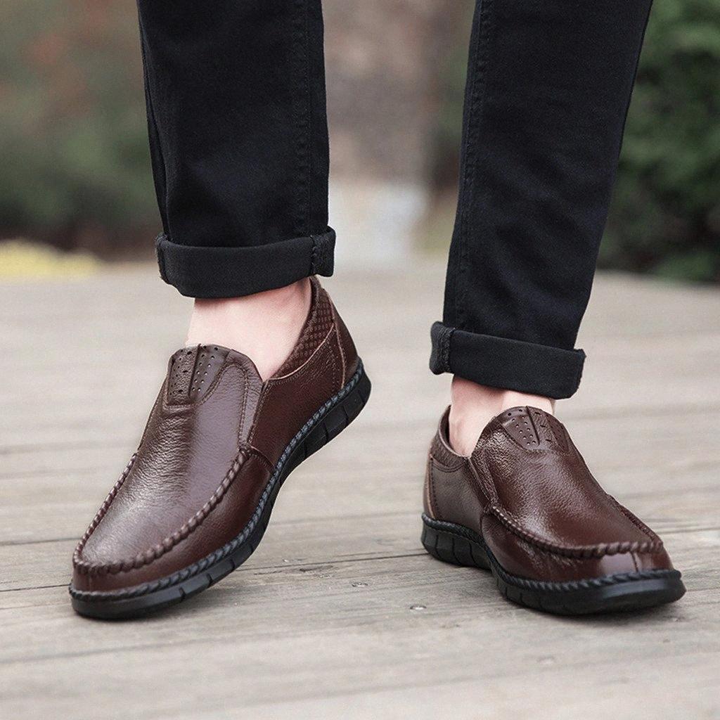 Cómodos hombres cómodos zapatos casuales mocasines para hombres zapatos calidad cuero dividido planos venta caliente más tamaño # y4 97hq #