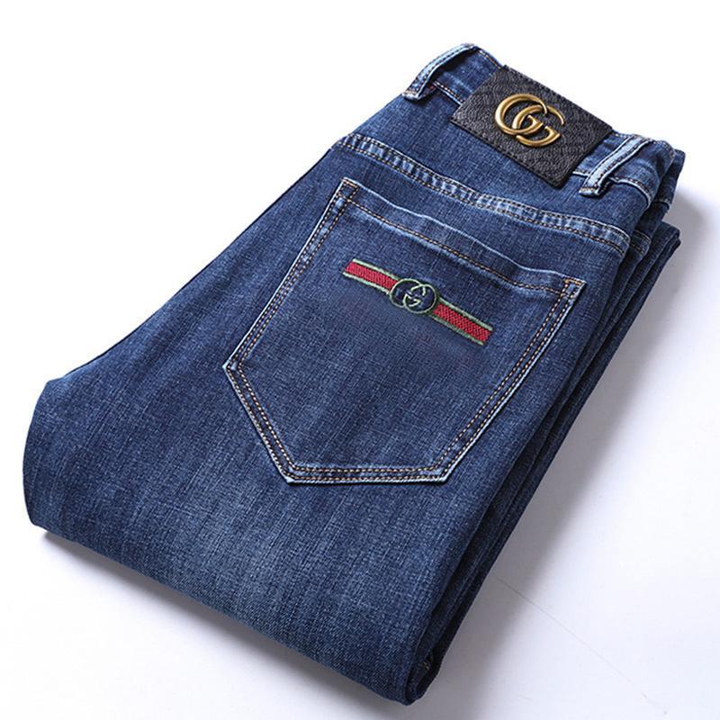Осенние хлопчатобумажные мужские тонкие эластичные милые GC бренд мода бизнес классические брюки стиль зимние джинсы джинсовые штаны