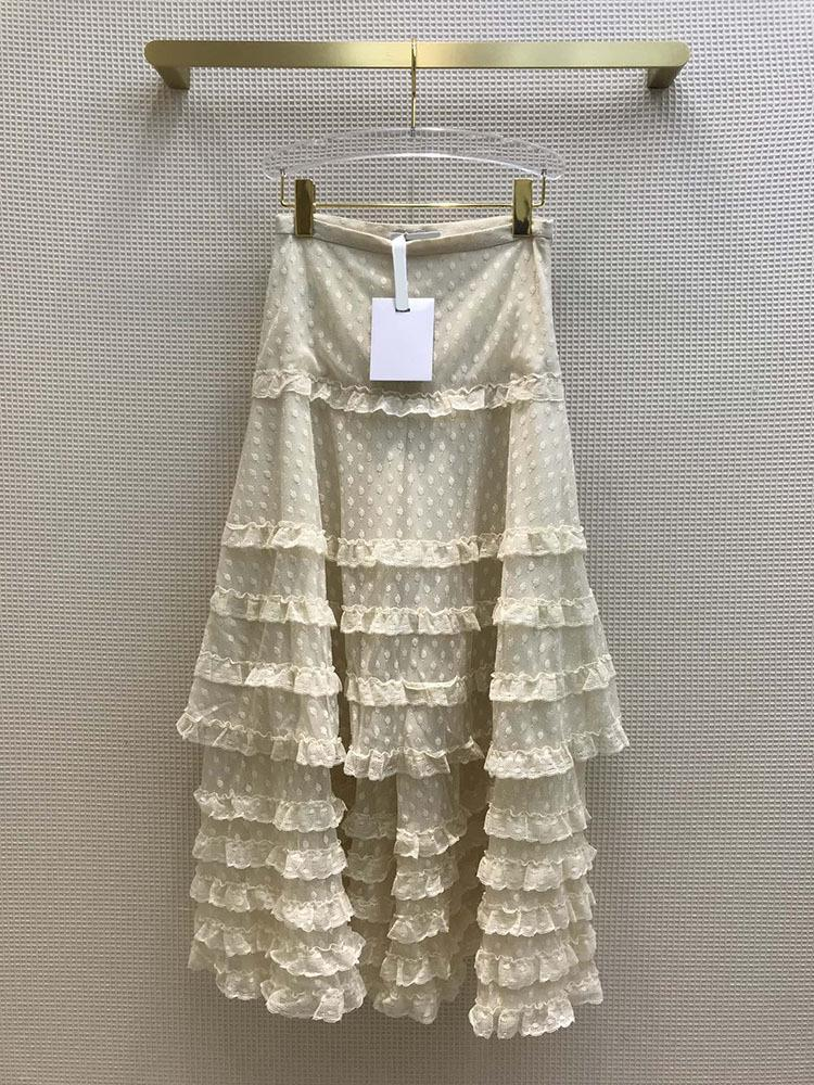 Skirts High-end Brand Woman Skirt 2021 Early Spring Elegant Court Sweet Solid Waist Wave Point Lace Mosaic Cake Long