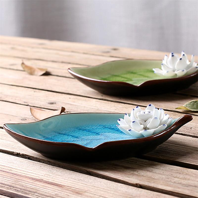 Handgemachte Lotusblatt Räucherstäbchenhalter Räucherbrenner Eis Crack Tray Aromatherapie Ofen Home Decor Zubehör Ornamente