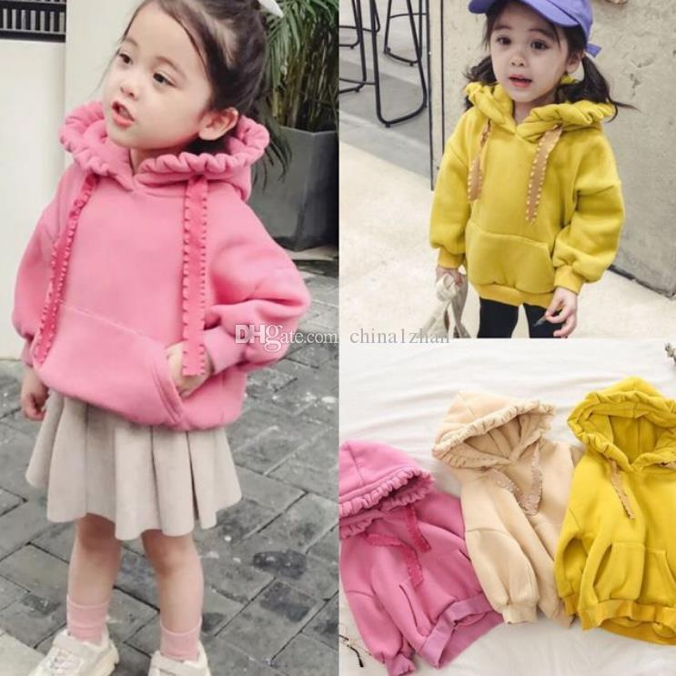 Baby Girls Clothes Solid Fleece Padded Top Thicken Toddler Girl Hooded Jackets Warm Children Outwear Winter Kids Clothing 3 Color AT4521