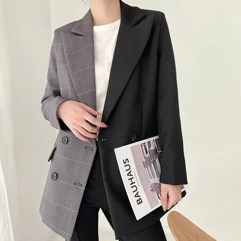 Yizzholoy Frühling Herbst Neue Frauen Patchwork Blazer Zweireiher Jacke Casual Taschen Büro Damen Elegant Anzüge Mantel
