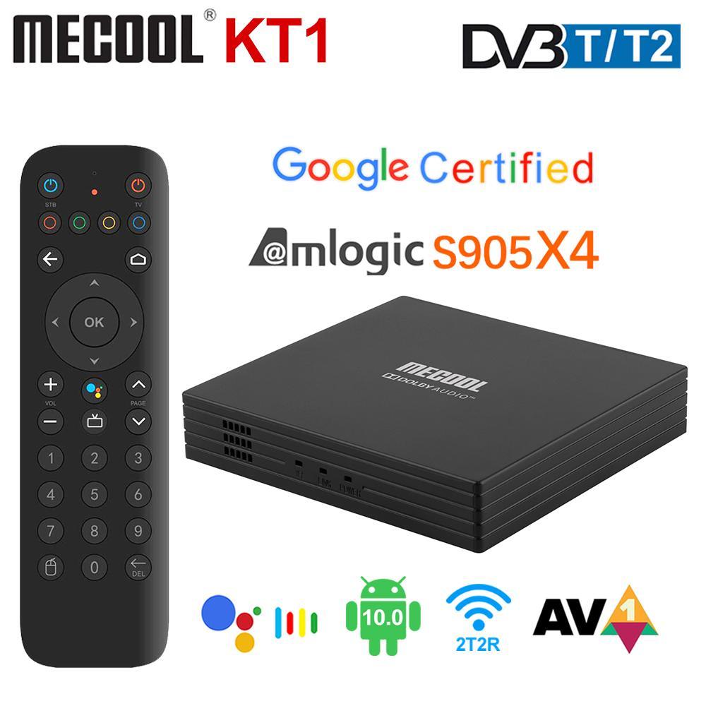 MeCool KT1 TV Box Android 10 Google مصدق DVB-T / T2 Amlogic S905x4 AV1 4K 2T2R المزدوج واي فاي BT Media Player Set Top-Box