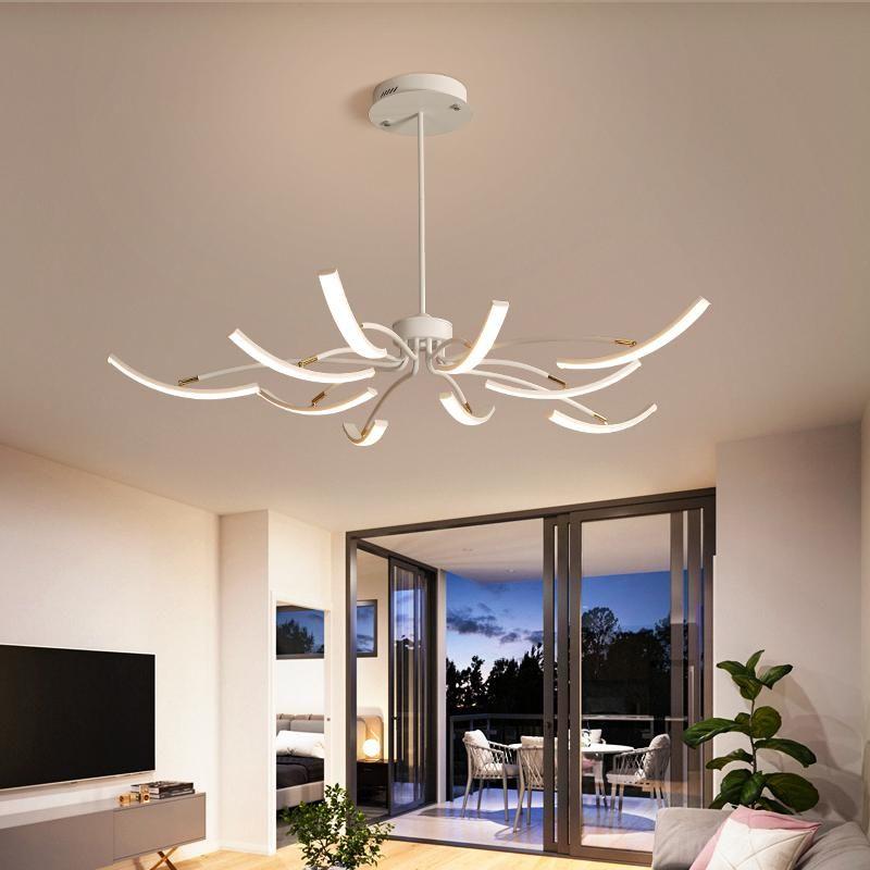 Черно-белые готовые современные светодиодные потолочные светильники для гостиной спальня исследование регулируемая новая светодиодная лампа люстры