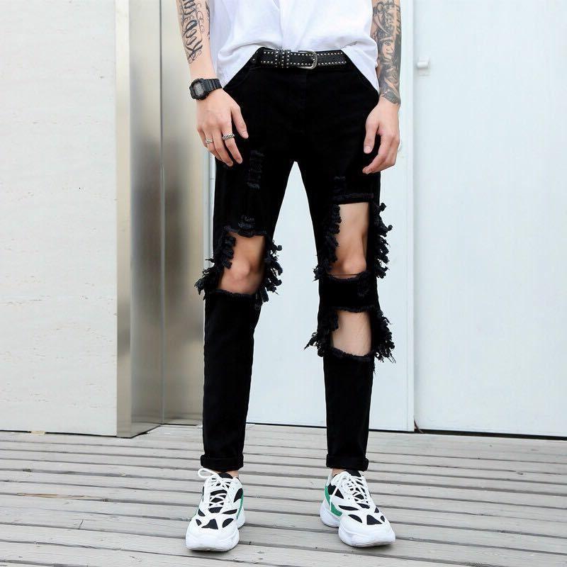 2019 черные разорванные джинсы правая стрейч бедноэлаарная стройная нога brokek хип-хоп potlood broek.