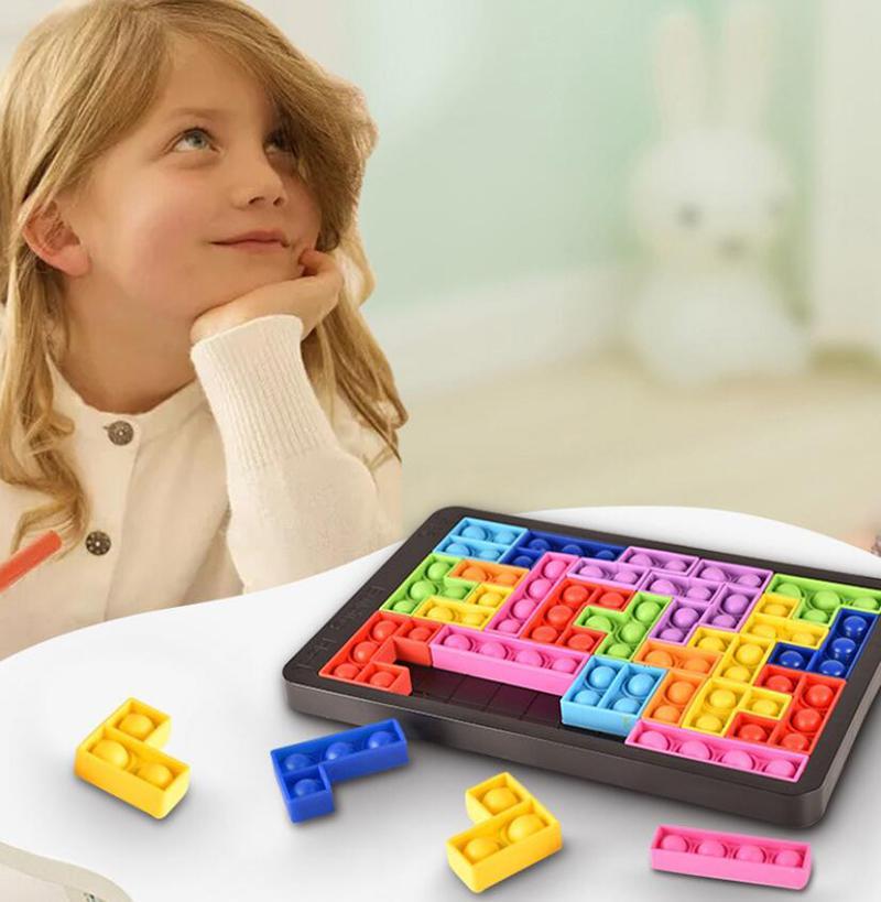 Pop Fidget Reliver Stress Toys Tangram Jigsaw Puzzle Push Bubble Antistress Toy Children Educational Relieve Autism