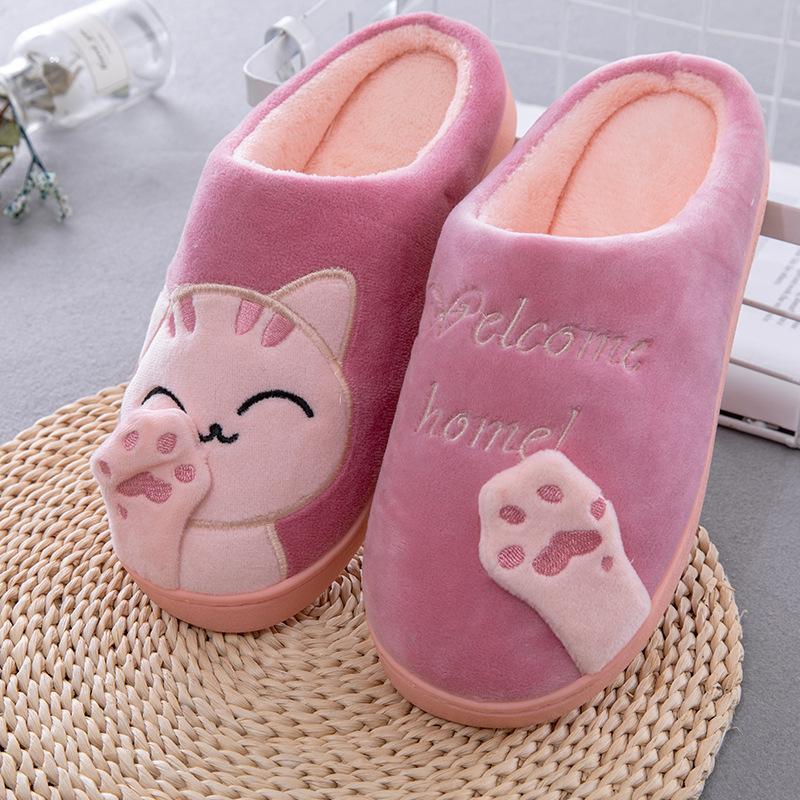 Pantofole Donne Inverno Casa Cartoon Cat Scarpe antiscivolo Soft Hard Casa Calda Camera da letto Indoor Lovers Coppie Pavimento