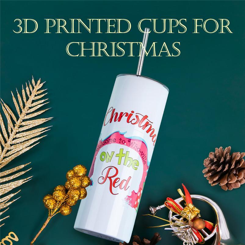 3D 인쇄 20oz 스트레이트 텀블러 스테인레스 스틸 승화 뚜껑과 짚을 가진 크리스마스 모욕 된 물병 DIY 로고를 할 수 있습니다 FYY4757
