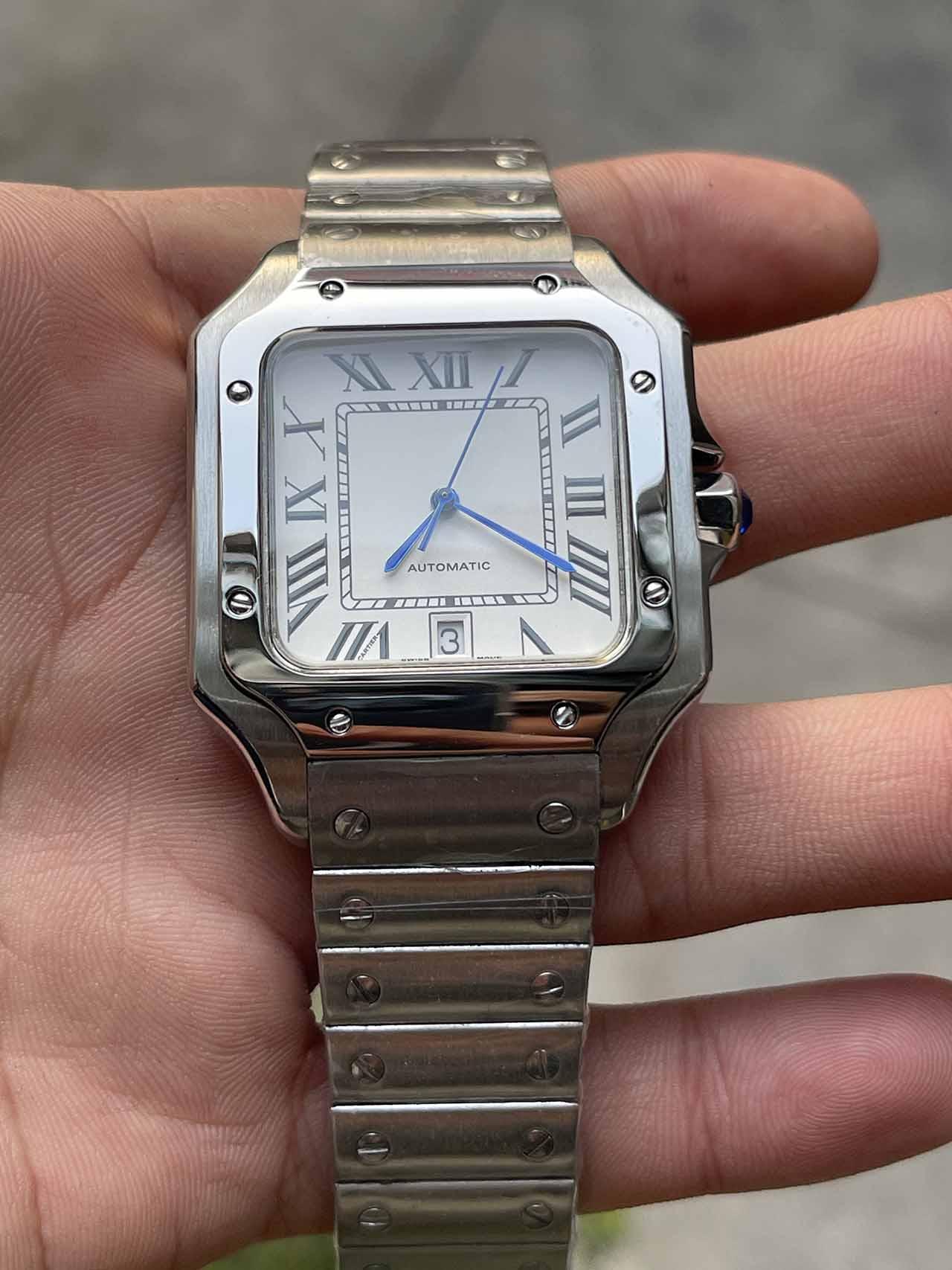 Hot Sell Vente Montres carrées occasionnelles 40mm Montres mécaniques en acier inoxydable Cas et bracelet Mode Mens Montres Montres Male Montre-Bracelet Cadeau